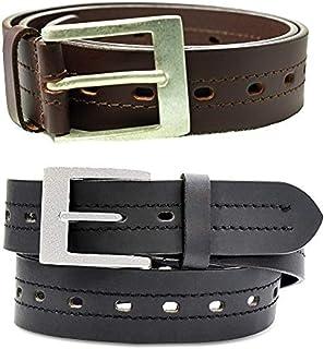 Men's Genuine Leather Belt, Sturdy Metal Buckle,Many Holes