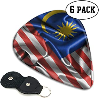 Flag of Malaysia Guitar Picks 6 Pack Celluloid Plectrum Electric Acoustic Guitars Bass Best Gifts Kids Teens