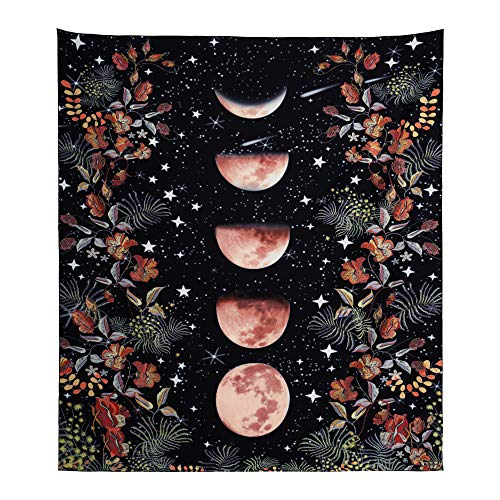 Moonlight Garden Tapestry, Moon Phase Tapestry Flower Rattan Tapestry, Black Background Starry Sky Flower Tapestry Wall Hanging Room Living Room Dormitory Decoration 51.2 x 59.1 inches