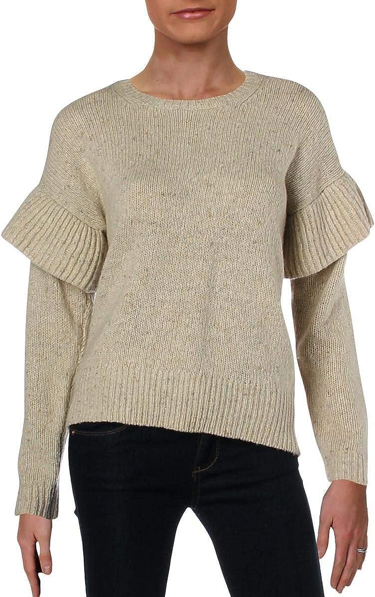 Ralph Lauren Womens Ruffle Long Sleeve Pullover Sweater, Beige, Large
