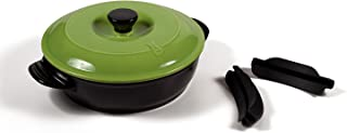 Versa Ceramic Cookware by Xtrema - Short Handled 10 Inch Frying Pan/Braising Skillet with Lid - Dishwasher, Stove, Oven, Grill, Microwave Safe - Apple Green