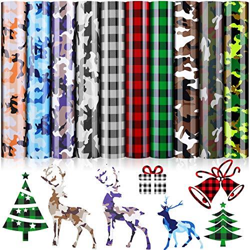 10 Sheets Christmas Buffalo Plaid Iron-on Vinyl HTV, Camo HTV Heat Transfer Vinyl Bundle, Buffalo Plaid Camouflage PU HTV, 12 x 10 Inch Iron on Vinyl Printed Pattern Vinyl for T-Shirts, Clothing, Hats