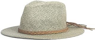 LiWen Zheng New Summer Hat Adult Hat Panama Hats Hollow Out Straw Hat For Men Women Leather Ribbon Large Brim Sun Beach Hat Jazz Cap Fedora