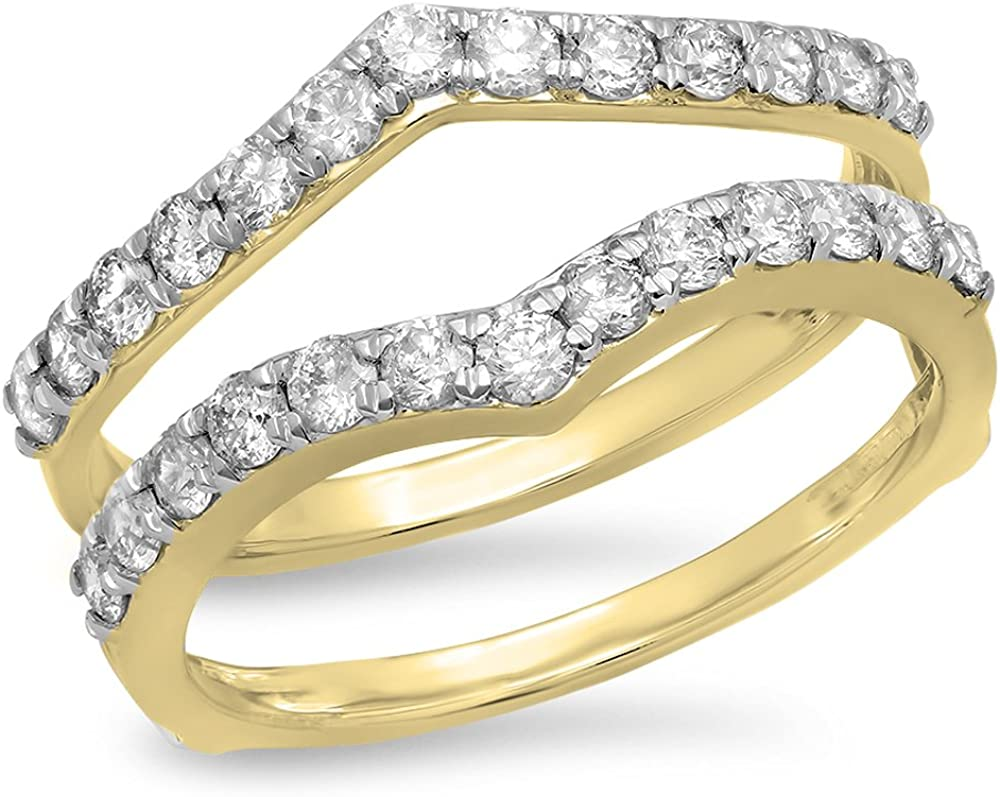 Dazzlingrock Collection 0.95 Carat (ctw) 14K Gold Round White Diamond Ladies Anniversary Wedding Enhancer Guard Double Ring 1 CT