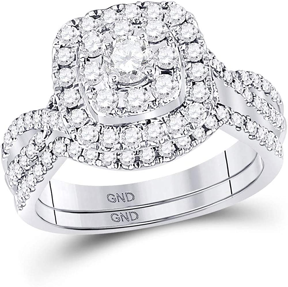 Diamond Bridal Two Rings Set Solid Ladies Import Gold White Quantity limited 14k E Large