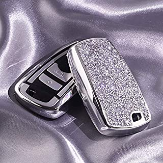 Luxury 3 4 Buttons 3D Bling Smart keyless Entry Remote Blade Key Fob case Cover for BMW 1 2 3 4 5 6 7 M Series,BMW X1 X3 X4 M2 M3 M4 M5 M6,with Keychain (Silver)
