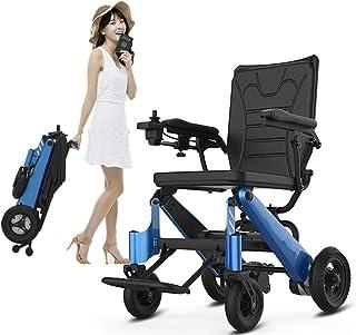 ZKORN Silla de Ruedas eléctrica, Plegable Ligera Portátil Anciano Portátil (batería de Iones de Litio) Palanca de Mando de 360 ° El Cuerpo de la Persona discapacitada para Usar sillas d