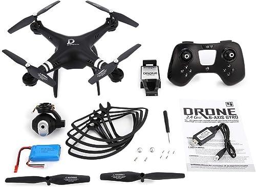 Heaviesk pour X8 Drone 2.4G FPV Drone Quadricoptère RC avec caméra Ajustable Altitude Hold Mode sans tête 3D-Flip 18mins Long vol