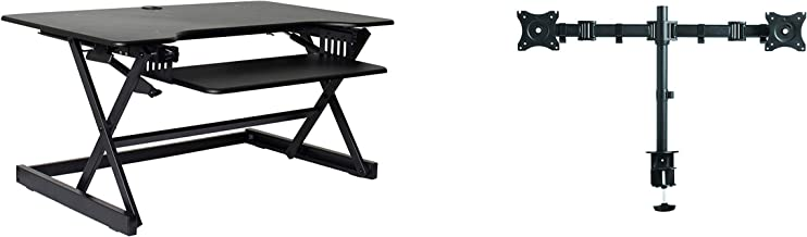 """Rocelco 40"""" Height Adjustable Standing Desk Converter Bundle with Dual Monitor Mount/Sit Stand Computer Workstation/Gas Sp..."""