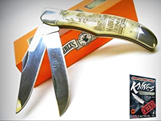 MARBLES Scrimshaw 2 Blade Hunter Folding HUNTING Pocket Knife + Pouch! 001229 + free eBook by ProTactical'US