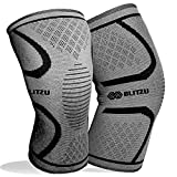 BLITZU Knee Compression Sleeve for Men & Women – Best Knee Brace Support for Running, Gym, Workout, Fitness, Weightlifting. Joint Pain Relief, Arthritis, ACL, Meniscus Tear and Injury Recovery L