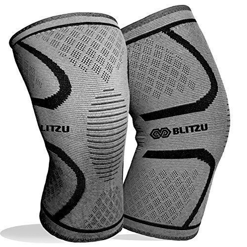 BLITZU Flex Plus Compression Knee Brace for Joint Pain, Crossfit Improve Circulation Support for Running Gym Workout Recovery Best Sleeves Tendon Hinged P90x3 (Medium, Gray)