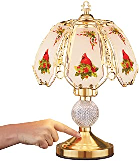 Cardinal Glass Shade Touch Lamp - Gold Tone and Crystal Base for Desk, Table, Dresser, Nightstand