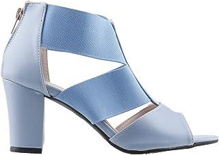 Ayakland 811-50 Günlük 7 Cm Topuk Bayan Cilt Sandalet Ayakkabı Mavi