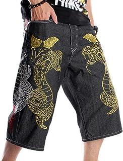Pantaloni da Skateboard da Uomo in Jeans Larghi con Stampa Ricamo Ricamo Hip-Hop alla Moda da Uomo