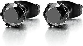 3-8MM Black Cubic Zirconia Mens Ladies Black Stud Earrings Stainless Steel, 1 Pair