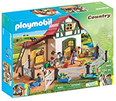 Time to saddle up for some fun down at the Pony Farm Includes three figures, three ponies, two-level barn, adjustable fence, drinking pond, two cats, and lots of other accessories Figures can bend, sit, stand and turn their heads Encourages children ...