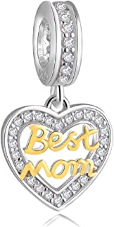 ENJOOOY Sterling Silver Mother Charm Best Mom Charm Pendant with 24k Gold Plating Heart Love Charm Bead fit Women Charm Br...