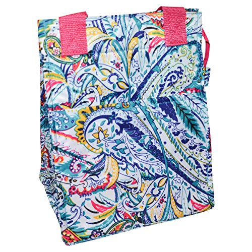Insulated Reusable Zippered Lunch Bag with Aluminum Foil Insulated Zipper Cooler Carrying Straps...