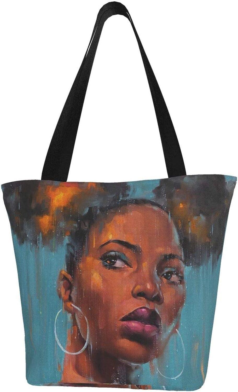Blue African Black Girl Hair Watercolor Themed Printed Women Canvas Handbag Zipper Shoulder Bag Work Booksbag Tote Purse Leisure Hobo Bag For Shopping