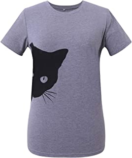 MINXUAN Short Sleeves Cat Printing Top for Mens & Womens Unisex Round Neck T-Shirt Blouses