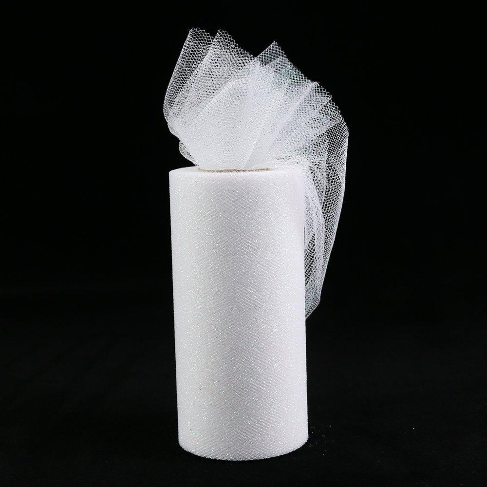 6/'/' 25YD Glitter Tulle Roll Tutu Fabric Skirt Wedding Craft Mesh Decoration