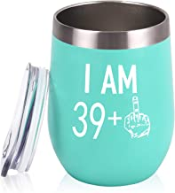 40th Birthday Wine Tumbler 39 Plus One Middle Finger for Women Men Friends, 12 Oz Insulated Stainless Steel Tumbler Cup with Lid, Personalize Gag Gift for 40th Birthday Party