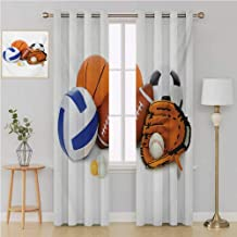 Benmo House Sports grommit Curtain Custom curtainsMany Different Sports Balls All Together Championship Ping Pong Volleyball Olympicswindow Decor 108 by 96 InchMulticolor