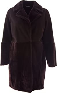Marina Rinaldi Women's Egeo Fur & Leather Overcoat 16W / 25 Dark Brown
