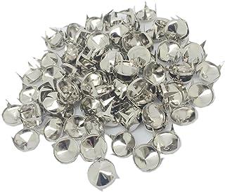 Baosity 100x Silver Metal Round Cone Rivet Studs Spots DIY Leather Craft 12mm