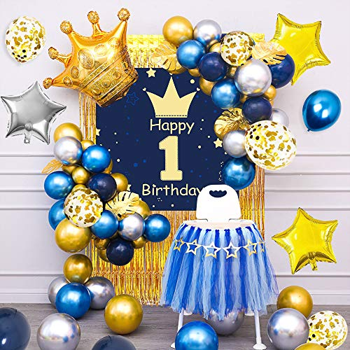 specool 1st Birthday Decoration Boy ,Happy Birthday Garland, Poster, Crown Star Foil Balloons, Golden Rain Curtain and Turtle Leaf,Blue Gold Silver Latex and Confetti Balloons for First Baby Shower