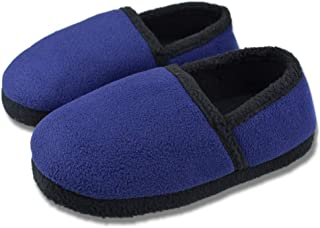 Tirzrro Little/Big Kids Warm Plush Fleece Slippers with Soft Memory Foam Slip-on Indoor Shoes
