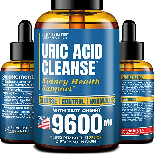 Uric Acid Cleanse with Tart Cherry 9600mg - Made in USA - Clinically Proven Natural Gоut Relief - Joint Comfort & Detoxification - Liquid Uric Acid Support Formula for High BioAvailability