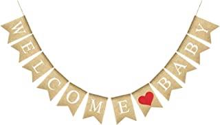 KatchOn Real Burlap Welcome Baby Banner – Great for Gender Neutral Baby Shower Decor| Gender Reveal Party Decorations Supplies, PhotoBooth and Dessert Table Decorations, Mantle, Fireplace