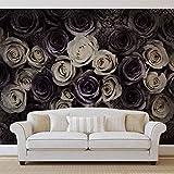 Weiß Graue Rosen Blumen - Forwall - Fototapete - Tapete - Fotomural - Mural Wandbild - (3122WM) - XXXL - 416cm x 254cm - VLIES (EasyInstall) - 4 Pieces