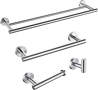 KLXHOME Bathroom Accessories Set 4-Piece Bath Hardware Kit Brushed Stainless Steel Wall Mount - Includes Double Towel Bar,...