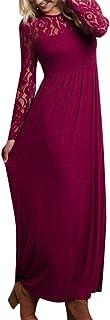 Auxo Donna Abito Vestito Dress Lungo Elegante Maniche Lunghe Slim Pizzo Cocktail Girocollo