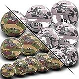 C.P. Sports - Balón medicinal para fitness, de 0,5 a 15 kg, tejido de nailon resistente, para crossfit, entrenamiento de fuerza, fitness, color verde oliva, blanco, camuflaje militar, 7 kg