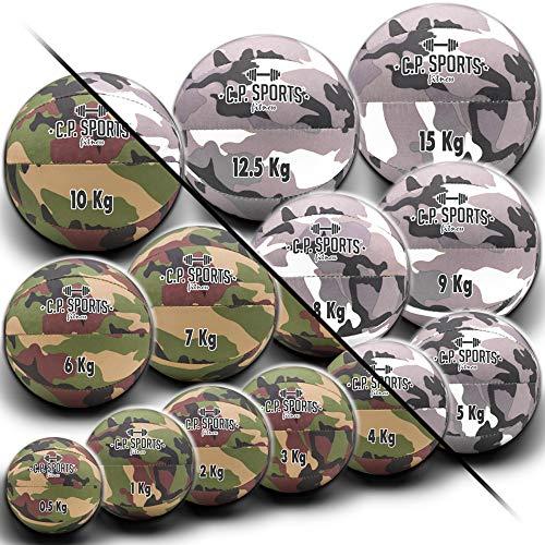 C.P. Sports Medizinball Fitnessball 0,5 KG bis 15 KG strapazierfähiges Nylon Gewebe robuste Medizinbälle für Krafttraining Fitness Oliv weiß Camo Military – 3 KG Oliv