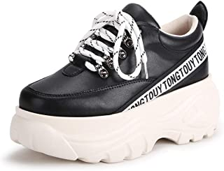 Women's Sneakers 2019 New Microfiber Sports Shoes Low-Top Casual Shoes Lace Up Fashion Platform Shoes White Black Beige,Black,37