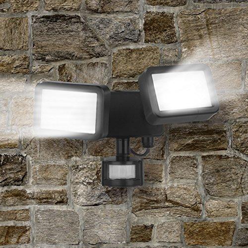 Easymaxx Security LED-Au&szligenstrahler | Doppelstrahler mit Bewegungsmelder | stufenlos verstellbar, ABS, PC, Aluminium, schwarz