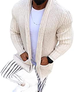 Loyomobak Mens Knitted Open Front Winter Long Sleeve Cardigan Coat Outwear with Pockets