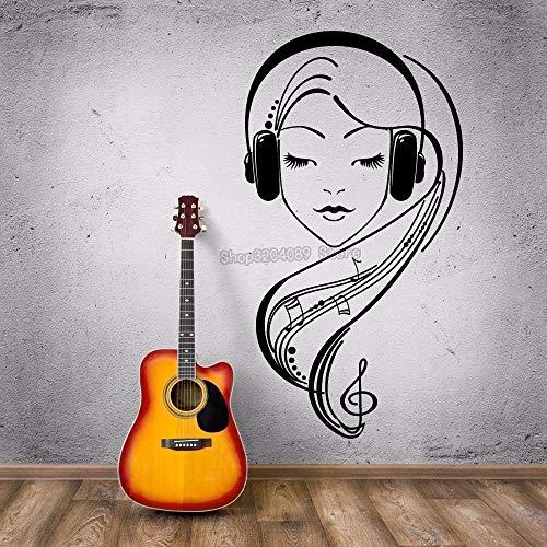 nkfrjz Venta de calcomanías de Vinilo Hermosa Chica en Auriculares Dormitorio de Amante de la música Negro Pegatinas de Pared removible decoración del hogar 42X78CM