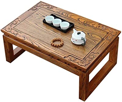Coffee Table Indoor Tea Table Bay Window Table Tatami Table Wooden Tea Table Wood Floor Table (Color : Brown, Size : 50 * 40 * 25cm)