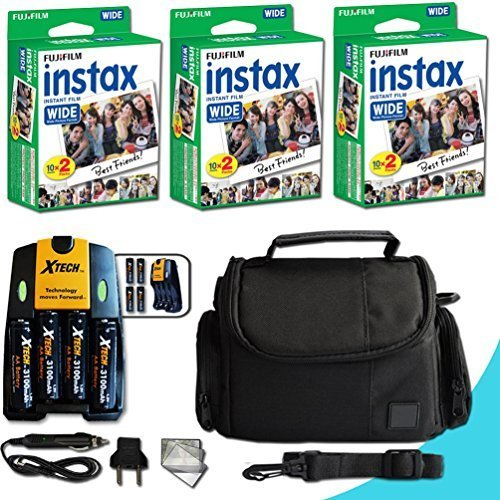 Xtech FujiFilm Instax Accessories Kit for Fujifilm Instax 210 Wide Includes: 60 Instax Wide Film + 4AA Batteries (3100mAH) + AC/DC Quick Charger + Custom Fitted Case + Screen Protectors + More