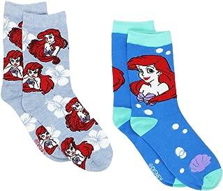 The Little Mermaid Ariel Womens 2 pack Crew Socks (Big Kid/Teen/Adult)