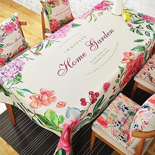 HXC Home Tuintafel, 85 x 85 cm, beige, groen, bloemenmotief, rechthoekig, vierkant, non-irroning, eco-vriendelijke tafelrunner