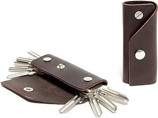 Pack & Smooch Kingsley L Custom Key Case for Up to 10 Keys - Vegetable Tanned Leather Handmade (Dark Brown)