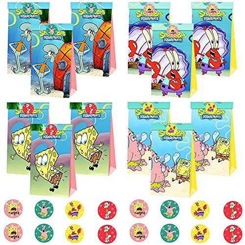 SpongeBob Borse Carta, BESTZY 12 Pezzi Sacchetti di Carta 22 x 18 x 2 cm, Sacchettini Carta Kraft per Caramelle Compleanno, Feste, Matrimoni, Mercati, Negozi(18 Adesivi Inclusi)