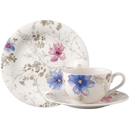 Villeroy & Boch Mariefleur Gris Basic Service à café pour 6 personnes, 18 pièces, Porcelaine Premium, Blanc/Bleu/Gris